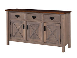 X-Base Buffet | Standard features include soft-close doors and soft-close drawers. Optional wine rack available. | Brown Maple in Two-toned | 60in W x 20in D x 36in H | The Amish Home | Amish Furniture at the Pittsburgh Mills