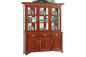 Queen Victoria 3 Door Hutch|Cherry in Acres OCS106|70 1/2in W x 20in D x 83 1/2in H|The Amish Home|Amish Furniture at the Pittsburgh Mills Amish dining solutions