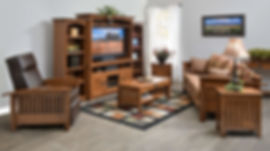 Liberty Mission Living Room Furniture Collection|Craftsman style with flat sides and mullion detailing throughout. Fabric sofa with wood frame, leather recliner with wood frame, three-piece entertainment unit, enclosed end table, coffee table with drawer and shelf, end table with drawer and shelf. Mission black hardware.|Solid Rustic Quartersawn White Oak in Medium OCS110|The Amish Home|Amish Furniture at the Pittsburgh Mills