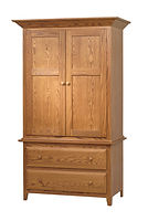 English Shaker 2 Drawer Armoire|Oak in Seely OCS104|41 1/2in W x 21 1/2in D x 70in H|The Amish Home|Hardwood Furniture at the Pittsburgh Mills