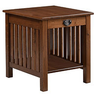 Liberty Mission End Table | Craftsman style with square corner posts and mullion sides. One flush inset drawer, open bottom shelf. | Rustic Quartersawn White Oak in Medium OCS110 | 22in W x 24in D x 24in H | The Amish Home | Amish Furniture at the Pittsburgh Mills