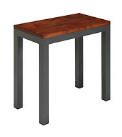 Franklin Industrial Style End Table with metal base|Metal Base & Brown Maple in Michaels OCS113|14in W x 26in D x 25in H|The Amish Home|Amish Furniture at the Pittsburgh Mills