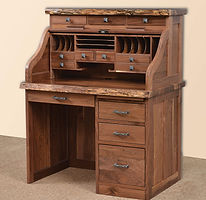 Mission Roll Top Desk with Live Edge and Drawers on Top|Rustic Walnut in Natural OCS100|42in W x 30in D x 51 1/2in H|The Amish Home|Amish Furniture at the Pittsburgh Mills