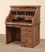David's Mission 42in Roll Top Desk with Live Edge and Drawers on Top | Rustic Walnut in Natural OCS100 | 42in W x 30in D x 51 1/2in H | The Amish Home | Amish Furniture at the Pittsburgh Mills