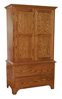 Jonas's Shaker Armoire|Oak in Seely OCS104|42 1/4in W x 22in D x 72 1/2in H|The Amish Home|Amish Furniture at the Pittsburgh Mills