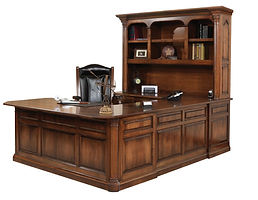 Jefferson U-Shaped Desk with optional hutch | Available with contrasting columns in stone finish | Cherry in Chocolate Spice FC-9090 | 75in W x 99in D x 79 1/2in H | The Amish Home | Amish Furniture at the Pittsburgh Mills