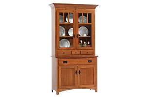 New Classic Mission 2 Door Hutch|Quartersawn White Oak in Michaels OCS113|45 1/2in W x 20in D x 82in H|The Amish Home|Amish Furniture at the Pittsburgh Mills Amish Dining Solutions