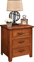 Bloomfield 3 Drawer Nightstand | Three inset drawers. | Rustic Quartersawn White Oak in Michaels OCS113 | 24in W x 19in D x 28in H | The Amish Home | Amish Furniture at the Pittsburgh Mills