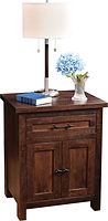 Denali Nightstand with 1 Drawer and 2 Doors | One inset drawer and two inset doors with flat panel fronts. | Brown Maple (Circular Sawn) in Almond FC-4200 | 24 1/2in W x 19in D x 30in H | The Amish Home | Amish Furniture at the Pittsburgh Mills
