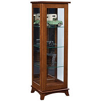 Mt. Eaton Sliding Door Curio | 3 adjustable shelves with plate groove, mirror back, clear glass, LED touch light, door slides left | Quartersawn White Oak in Michaels OCS113 | 20in W x 17in D x 60 1/2in H | The Amish Home | Amish Furniture at the Pittsburgh Mills