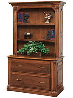Jefferson Lateral File Cabinet with optional hutch | Available with contrasting columns in stone finish | Cherry in Chocolate Spice FC-9090 | 51in W x 24in D x 79 1/2in H | The Amish Home | Amish Furniture at the Pittsburgh Mills