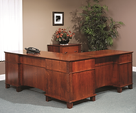 Arlington L-Desk shown from back | Brown Maple in Acres OCS106 | 75in W x 71 3/4in return x 25in D x 31 1/4in H | The Amish Home | Amish Furniture at the Pittsburgh Mills