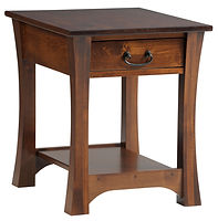 Woodbury End Table | With drawer and shelf | Brown Maple in Asbury OCS117 | 22in W x 24in D x 24in H | The Amish Home | Amish Furniture at the Pittsburgh Mills