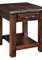 Barn Floor End Table with drawer and shelf, iron drawer pull.  Rustic end tables, farmhouse style living room furniture, rustic cherry with Asbury stain, made in the USA