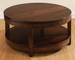 Antigo Round Coffee Table|Brown Maple in Rich Tobacco OCS228|48in W x 22in D x 18in H|The Amish Home|Amish Furniture at the Pittsburgh Mills