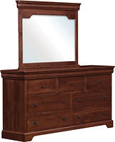 Avondale Dresser with Optional Mirror|Brown Maple in Acres OCS106|68in W x 20in D x 75in H | Louis Philippe Bedroom Furniture|The Amish Home|Amish Furniture at the Pittsburgh Mills