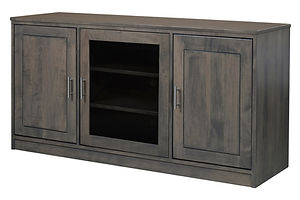 Nelson's Economy Urban TV Stand with three doors | Brown Maple in Smoke OCS121 | 60in W x 18in D x 30in H | The Amish Home | Amish Furniture at the Pittsburgh Mills