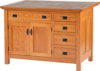 Brookline Mission Kitchen Island | 2 Doors, 5 Drawers, 1 Adjustable Shelf. Shown with tile top. | 1/4Sawn in Michaels OCS113 | 48 1/4in W x 24 1/2in D x 34 1/2in H | The Amish Home | Amish Furniture at the Pittsburgh Mills