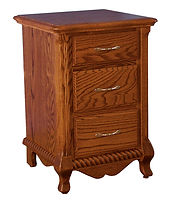 Classic 3 Drawer Nightstand|Oak in Seely OCS104|22 1/8in W x 21in D x 31 1/2in H|The Amish Home|Amish Furniture at the Pittsburgh Mills