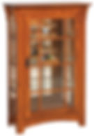 Small Mission Single Door Curio with Mullion Sides|Oak in Michaels OCS113|31 1/2in W x 14in D x 48in H|The Amish Home|Hardwood Furniture at the Pittsburgh Mills