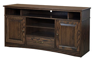 Nelson's Economy Traditional TV Stand with two doors and one drawer | Oak in Cocoa OCS122 | 60in W x 18in D x 30in H | The Amish Home | Amish Furniture at the Pittsburgh Mills