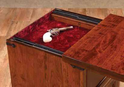 Hidden Gun Tray under nightstand top