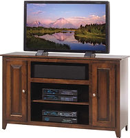 Economy TV Stand|Brown Maple in Coffee OCS226|52in W x 18in D x 32in H|The Amish Home|Hardwood Furniture at the Pittsburgh Mills
