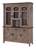 X-Base Hutch | Standard features include tongue & groove back, can lights, plate-grooved glass shelves, soft-close doors and soft-close drawers. Optional wine rack available. | Brown Maple in Two-toned | 60in W x 20in D x 83in H | The Amish Home | Amish Furniture at the Pittsburgh Mills