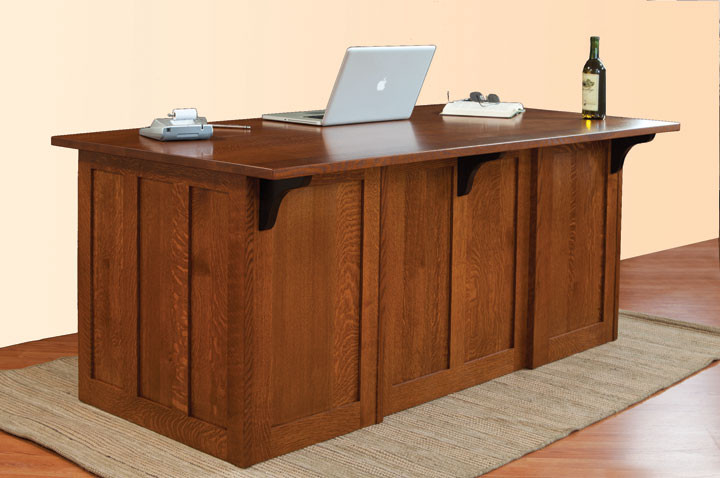 Glen Mission Executive Desk in Quartersawn White Oak - Home Office Furniture