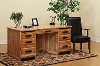 David's 68in Traditional Flat Top Desk with Black Accents | Rustic Hickory in Natural OCS100 | 68in W x 30in D x 30in H | The Amish Home | Amish Furniture at the Pittsburgh Mills