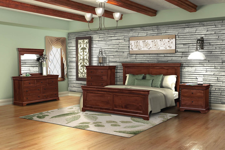 Avondale Bedroom Furniture Collection|Queen panel bed, dresser with 7 drawers and optional dresser mirror, tall chest with 6 drawers, nightstand with two drawers. Classic Louis Philippe style.|Solid Brown Maple in Acres OCS106|The Amish Home|Amish Furniture at the Pittsburgh Mills