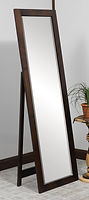 Shaker Leaner Mirror with Support|Brown Maple in Rich Tobacco OCS228|21in W x 13 1/2in D x 67in H|The Amish Home|Hardwood Furniture at the Pittsburgh Mills