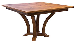 Acorn Single Pedestal Table | Shown with square top, eased edge. Available with butterfly leaf. | Rustic Quartersawn White Oak in Two-toned | Many Sizes Available | The Amish Home | Amish Furniture at the Pittsburgh Mills