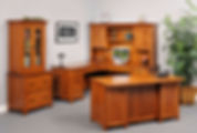 Coventry Mission Office Furniture Collection|Executive desk, L-desk with hutch, lateral fiel cabinet with hutch|Solid Quartersawn White Oak in Michaels OCS113|The Amish Home|Amish Furniture at the Pittsburgh Mills