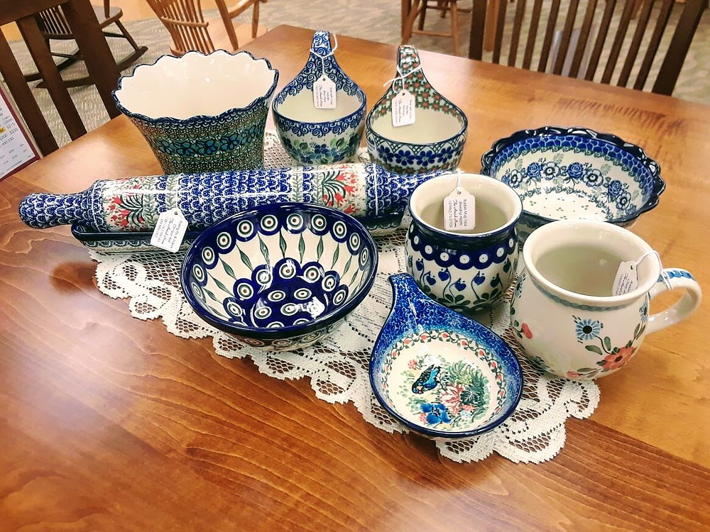 Polish pottery soup mugs, rolling pin with stand, planter, serving bowls, spoon rest