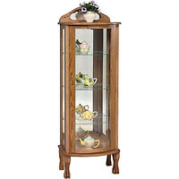Rectangular Curio | 3 adjustable shelves with plate groove, mirror back, clear glass, LED touch light, brass pull with lock, door hinged right | Oak in Michaels OCS113 | 21in W x 15in D x 62in H | The Amish Home | Amish Furniture at the Pittsburgh Mills