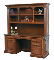 Jefferson Credenza Desk with optional hutch | Available with contrasting columns in stone finish | Cherry in Chocolate Spice FC-9090 | 75in W x 23 1/2in D x 79 1/2in H | The Amish Home | Amish Furniture at the Pittsburgh Mills