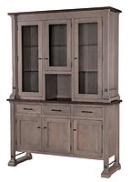 Carla Elizabeth Hutch | Standard features include tongue & groove back, can lights, plate-grooved glass shelves, soft-close doors and soft-close drawers. Optional wine rack available. | Brown Maple in Two-toned | 60in W x 20in D x 84in H | The Amish Home | Amish Furniture at the Pittsburgh Mills