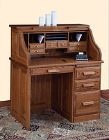 David's Traditional 42in Roll Top Desk | Oak in S-14 OCS108 | 42in W x 26in D x 47 1/2in H | The Amish Home | Amish Furniture at the Pittsburgh Mills