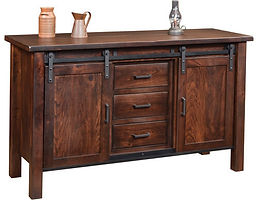 Farmhouse Buffet with Rolling Barn Doors|Rustic Cherry in Coffee OCS226|60in W x 20in D x 36in H|The Amish Home|Amish Furniture at the Pittsburgh Mills
