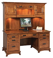 Mt. Eaton Desk|Quartersawn White Oak in Michaels OCS113|68 1/2in W x 30in D x 72in H|The Amish Home|Amish Furniture at the Pittsburgh Mills