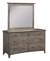 Choices 7 Drawer Dresser with Optional Mirror|Brown Maple in Smoke OCS121|63in W x 21in D x 36in H|The Amish Home|Amish Furniture at the Pittsburgh Mills