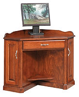 Corner Computer Desk|Cherry in Washington OCS107|43 1/2in W x 25in D x 33in H, 31in wall space|The Amish Home|Amish Furniture at the Pittsburgh Mills