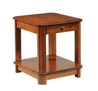 Franchi End Table | Fluted beveled leg styling.  One flush inset drawer, open bottom shelf. | Rustic Cherry in Boston OCS111 | 22in W x 24in D x 24in H | The Amish Home | Amish Furniture at the Pittsburgh Mills