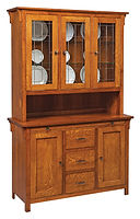 Keiran 3 Door Hutch with leaded glass|Quartersawn White Oak in Michaels OCS113|52 3/8in W x 19 1/2in D x 82in H|The Amish Home|Amish Furniture at the Pittsburgh Mills
