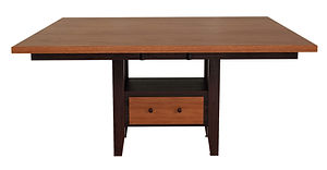 Manhattan Pedestal Table | Rectangular or square top. Shown with small round over edge. Features storage drawer and shelf. Butterfly leaf available. | Oak in Two-toned | Many Sizes Available | The Amish Home | Amish Furniture at the Pittsburgh Mills