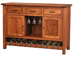 Adele Wine Buffet with plank top|Brown Maple in Michaels OCS113|60in W x 20in D x 42in H|The Amish Home|Amish Furniture at the Pittsburgh Mills