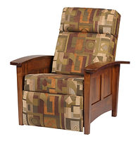Urban Shaker Recliner | Shaker style with flat panels and tapered legs.  Push back recliner, comfortable seating, large foot rest, tapered arm rest, wood panel sides. Available in fabric or leather. | Brown Maple in Michaels OCS113 | 33in W x 37 1/2in D x 41 1/2in H | The Amish Home | Amish Furniture at the Pittsburgh Mills