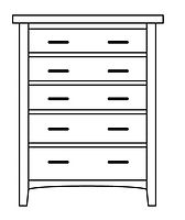 Choices 5 Drawer Chest| in |37in W x 21in D x 54in H|The Amish Home|Amish Furniture at the Pittsburgh Mills