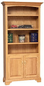 Stockton Bookcase with optional doors | Oak in MX OCS103 | 40 1/2in W x 15in D x 80in H | The Amish Home | Amish Furniture at the Pittsburgh Mills